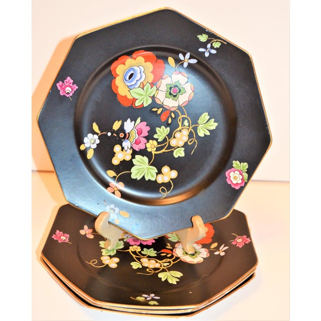 This is a beautiful set of antique Crown Ducal Ware Art Deco appetizer plates. These plates are in a matte black octagonal...