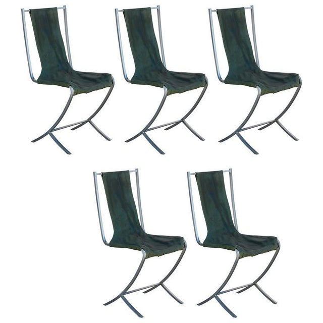 Rare Set of Five Stainless Steel Chairs by Maison Jansen For Sale - Image 9 of 9