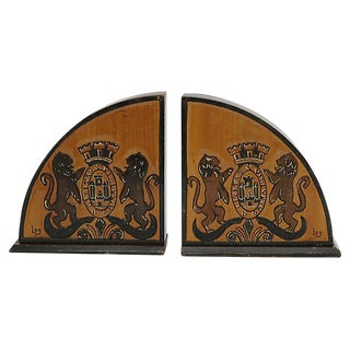 Art Deco Royal Coat of Arms Bookends - a Pair For Sale