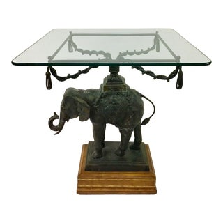 1980s Figurative Maitland Smith Bronze Elephant Side Table For Sale