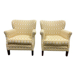 Lee Industries Custom Cortez Gold Arm Chairs - a Pair For Sale