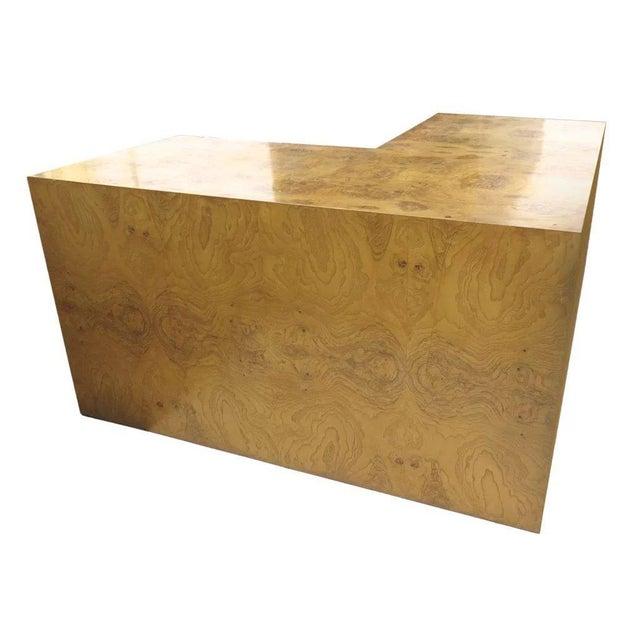 Burl walnut desk by Milo Baughman for Thayer Coggin. L shape one pencil drawer. 54 x 54 x 29 c. 1970 Has use marks, dings.