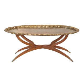 Mid-Century Reticulated Brass Tray Table