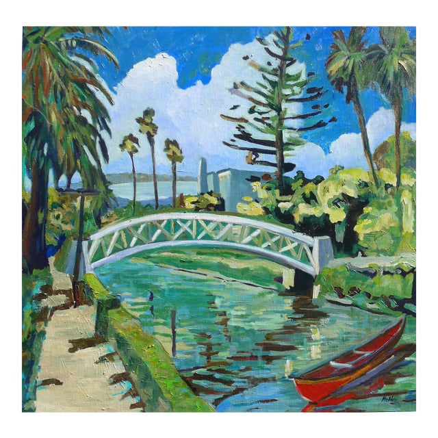 "Monumental ""Venice Canal, California"" Oil Painting For Sale"