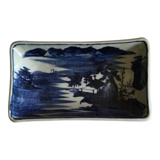 1960s Vintage Chinese Blue & White Tray For Sale