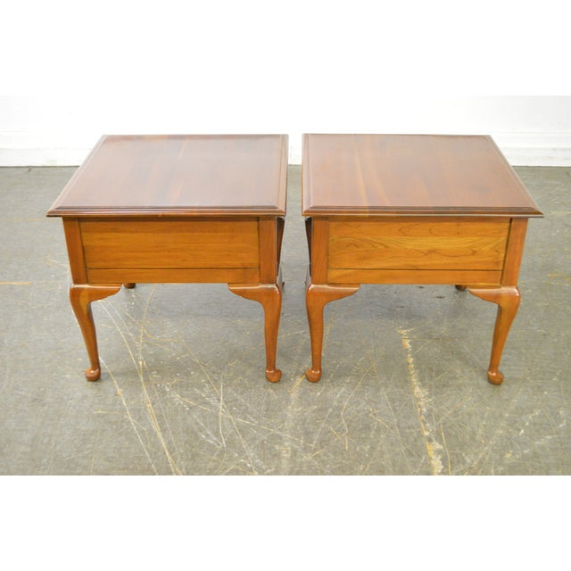 Traditional Harden Solid Cherry Pair of Vintage Square Queen Anne End Tables For Sale - Image 3 of 10