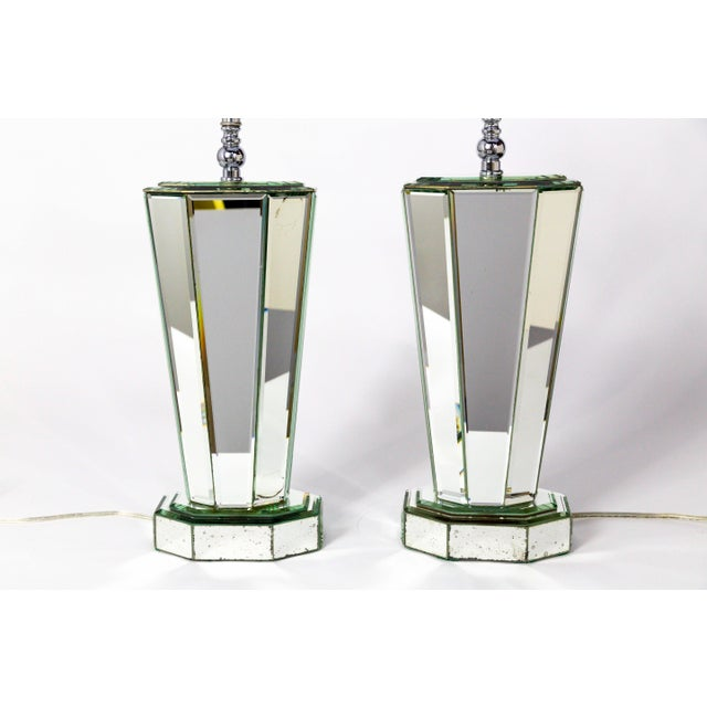 Modern Beveled Mirror & Chrome Lamps W/ Deco Finials - a Pair For Sale - Image 4 of 13