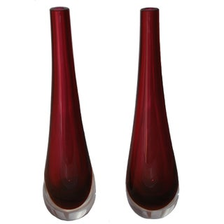 Cenedese Murano Glass Vases - A Pair