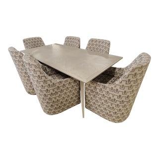 Lexington Furniture Arturo Ceruse Oak Dining Table W/Riley Caster Chair Set For Sale