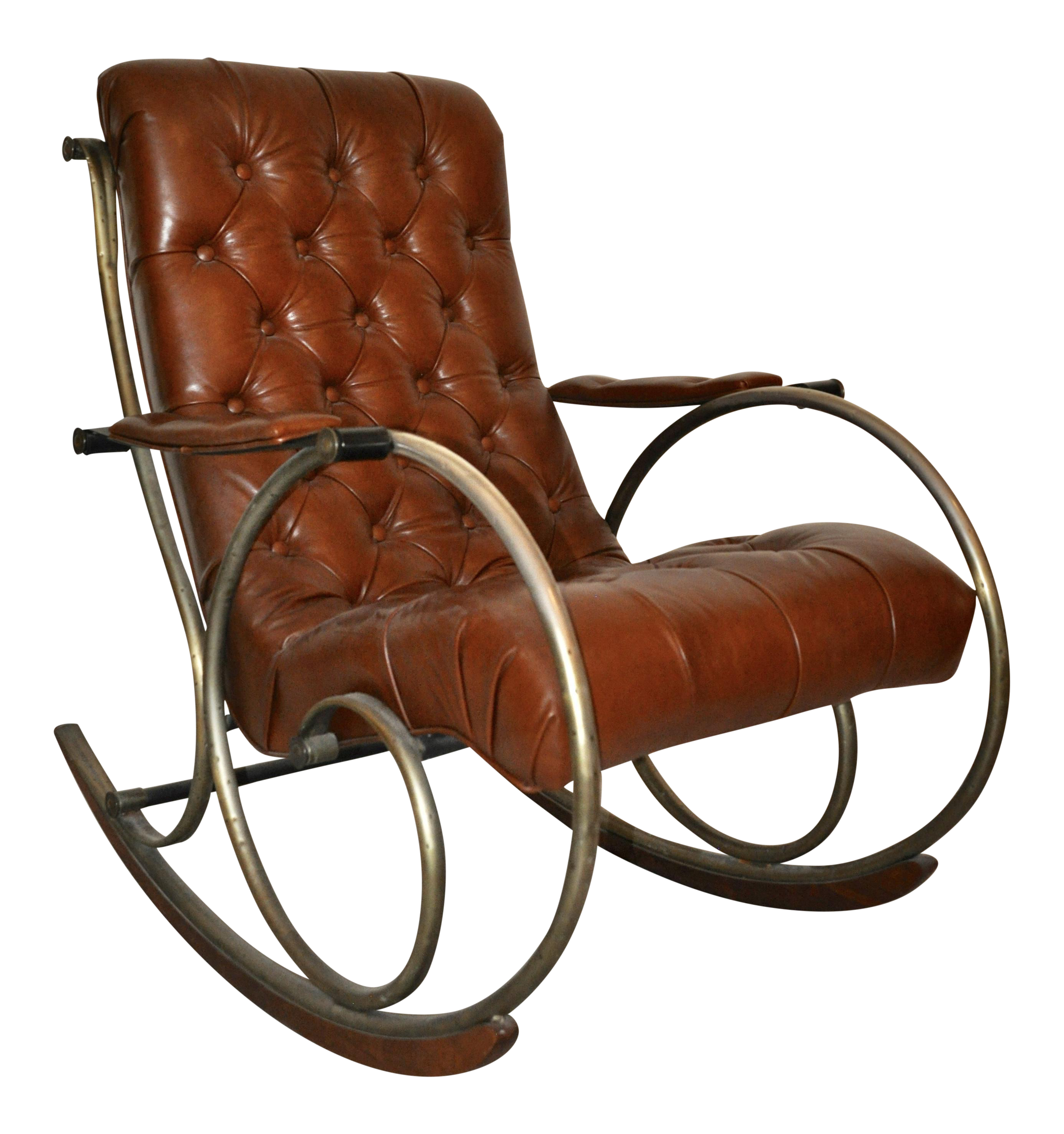 Remarkable Antique Brass Steel Leather Rocking Chair Caraccident5 Cool Chair Designs And Ideas Caraccident5Info