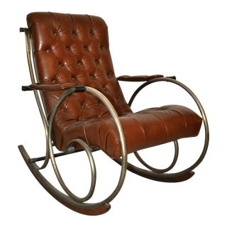 Antique Brass, Steel & Leather Rocking Chair For Sale