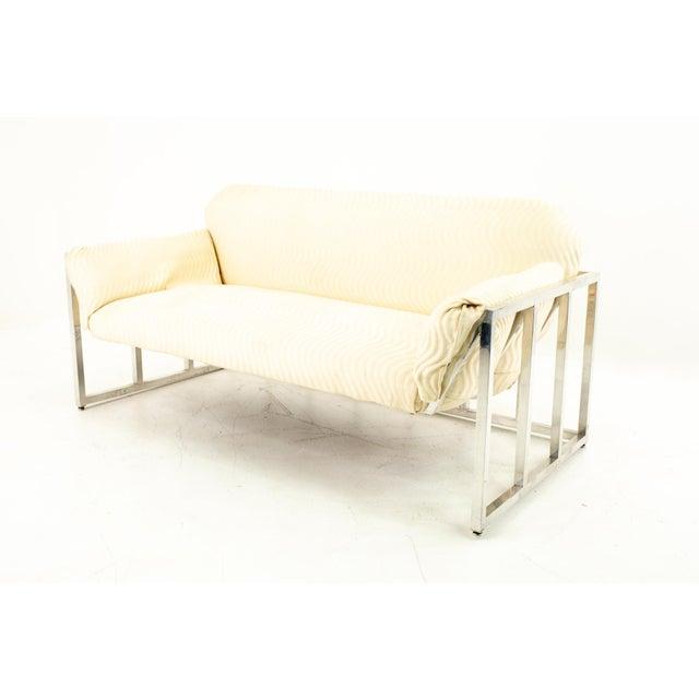 Mid-Century Modern Milo Baughman Style Mid Century Floating Chrome Setee For Sale - Image 3 of 10
