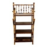Image of Mid Century Modern Burnt Bamboo Four Shelf Bookcase For Sale
