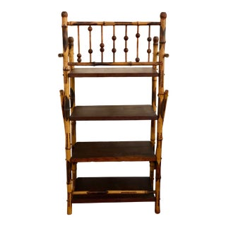 Mid Century Modern Burnt Bamboo Four Shelf Bookcase For Sale