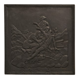 Antique Fireback Showing the Crimean Battle For Sale