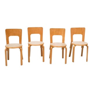 Set of Four Dining Chairs Model 66 by Alvar Aalto For Sale