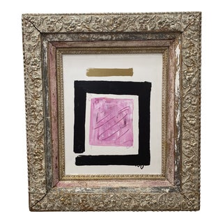 1980s Abstract Mixed-Media Painting, Framed For Sale