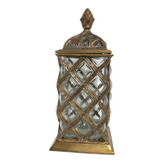 Late 20th Century Brass Lattice Bubble Glass Lidded / Candle Holder For Sale