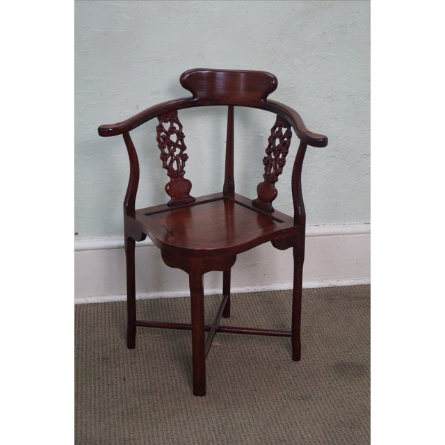 Chinese Rosewood Carved Corner Arm Chair - Image 7 of 10