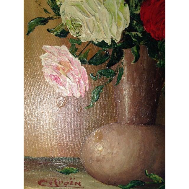 Mid-Century Roses in Brass Vase Still Life Painting - Image 5 of 11