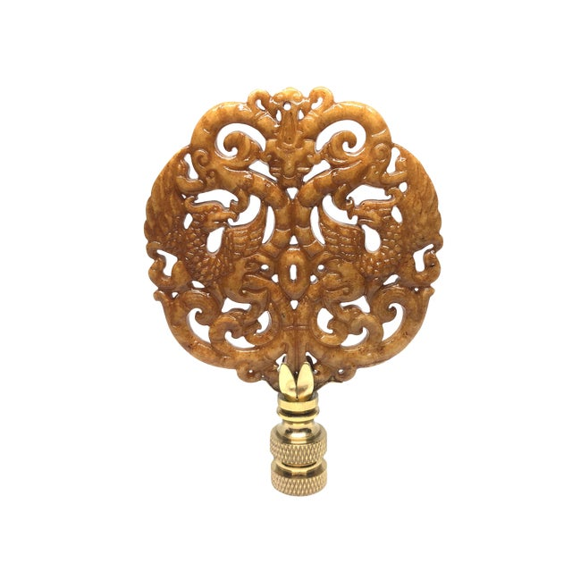 Chinoiserie Brass Griffins and Dragons Chinoiserie Lamp Finial For Sale