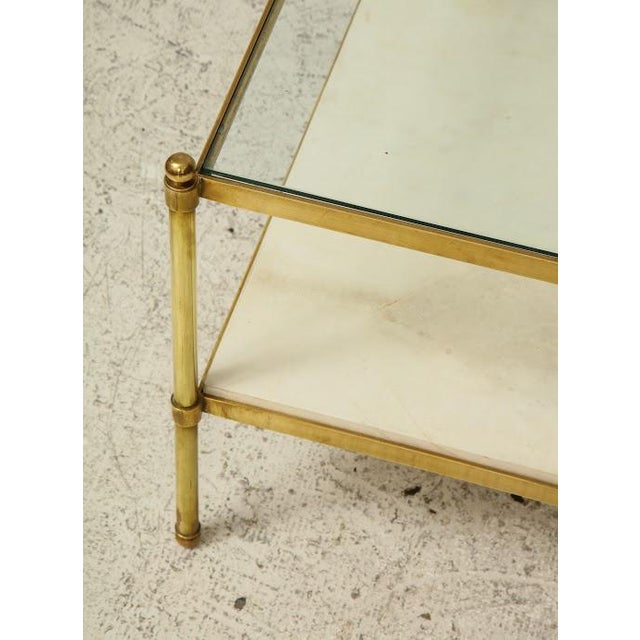 Parchment and Bronze Coffee Table With Glass Top For Sale In New York - Image 6 of 11