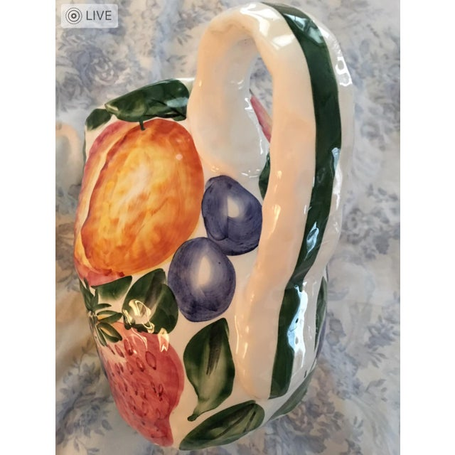 Italian Vintage Italian Majolica Pitcher For Sale - Image 3 of 5