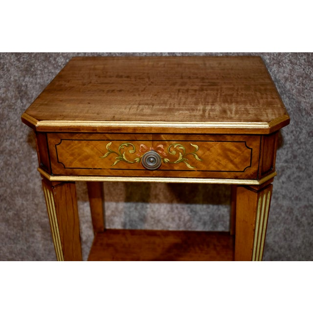Wood Antique French Satinwood Side Tables with Painted Designs - a Pair For Sale - Image 7 of 13