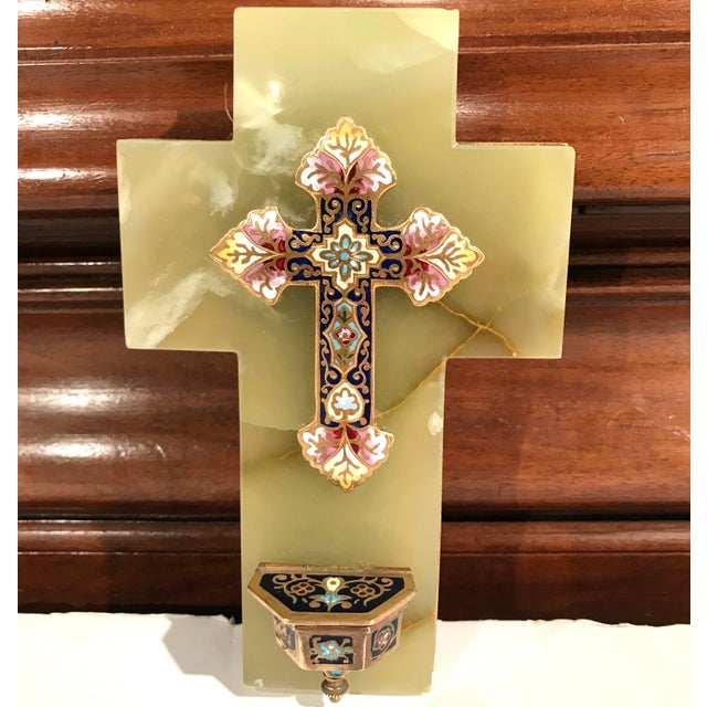 19th Century French Green Marble Cross and Holy Water With Cloisonné Technique For Sale - Image 4 of 7