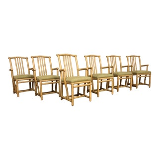 McGuire Rattan Host Arm Chairs - Set of 6 For Sale