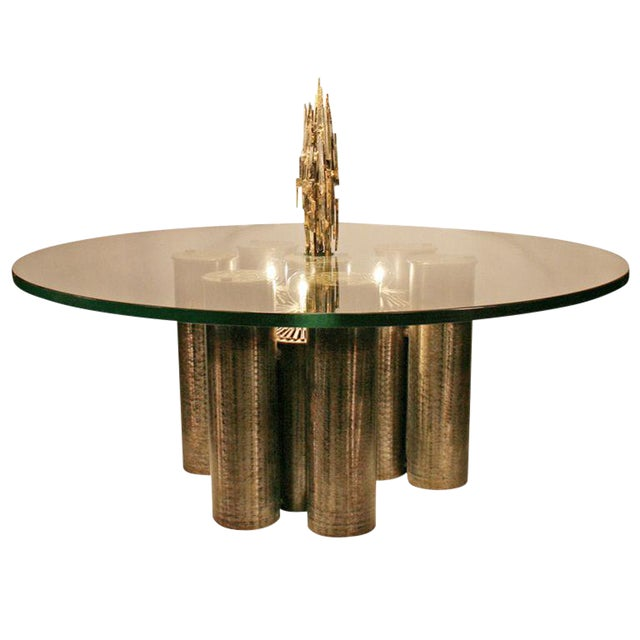 E. Garfinkle Brutalist Coffee Table With Coordinating Chandelier For Sale