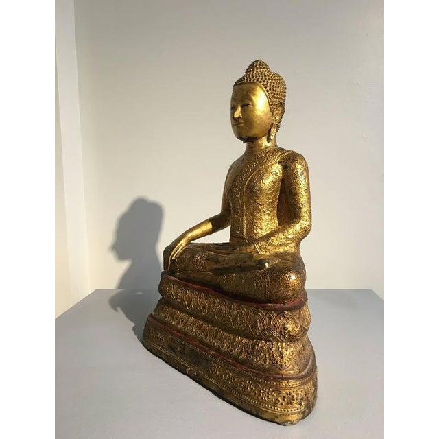 Asian Thai Rattanakosin Lacquered Gilt Bronze Image of Buddha Maravijaya For Sale - Image 3 of 10