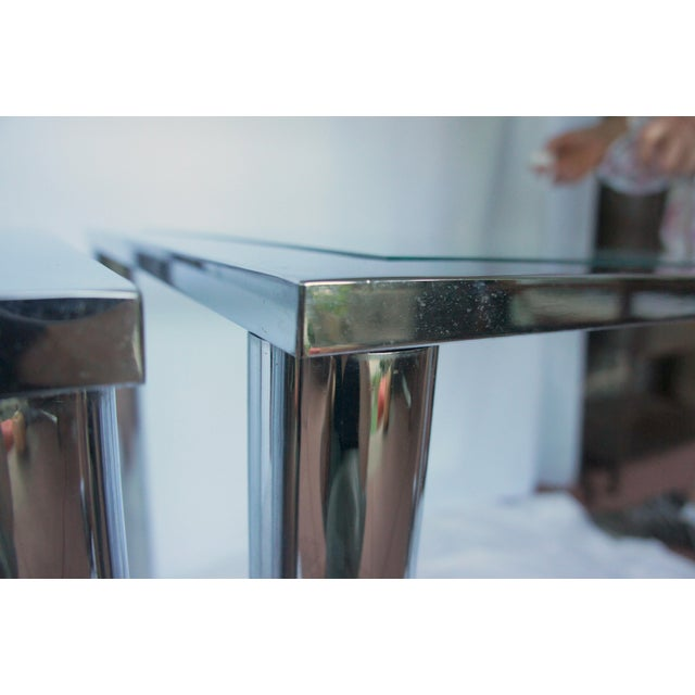Milo Baughman Chrome & Glass End Tables - A Pair For Sale - Image 10 of 11
