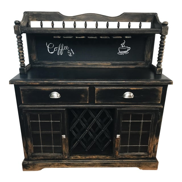 Black Distressed Bistro Coffee Bar Hutch Cabinet For Sale