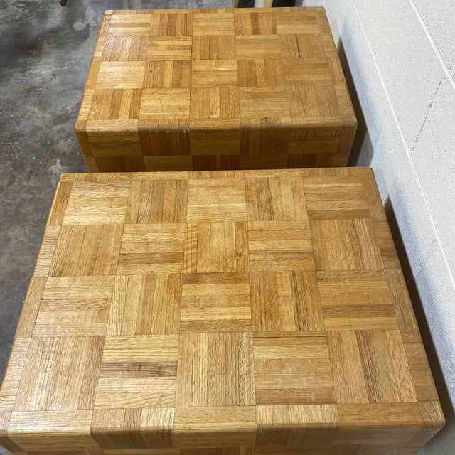 Mid-Century Modern 70s Parquet End Tables- a Pair For Sale - Image 3 of 11