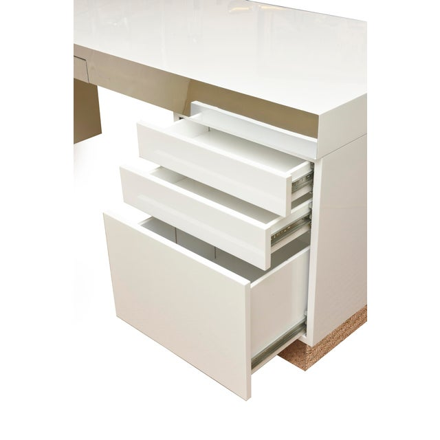 Modern Monumental White Lacquered Wood and Stainless Steel Sculptural Desk For Sale - Image 3 of 8
