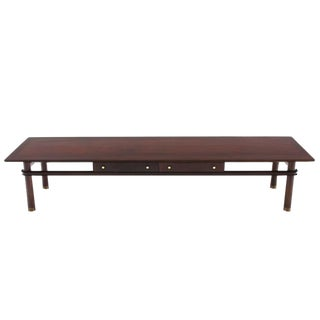 Long Mid Century Modern Walnut Coffee Table with Two Drawers For Sale