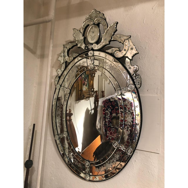 Venetian Style Etched Oval Mirror For Sale - Image 11 of 11