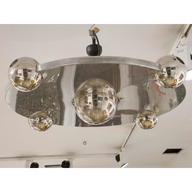 "Yonel Lebovici Rare ceiling light Model ""Soucoupe"" Steel France, circa 1969 This piece, typical of Yonel Lebovici, is very..."