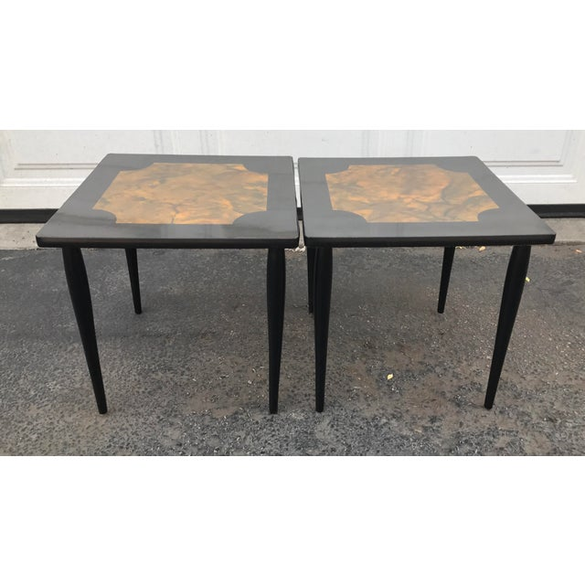 Mid-Century Modern Black Stacking Tables - A Pair - Image 2 of 7