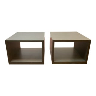 Modern Lauren Rottet for Decca Home Walnut Veneer Exterior Square End Tables - a Pair For Sale