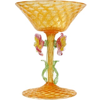 Antique Venetian Orange Gold Flecks With Pink Flowers Stem Chalice Drinking Glass For Sale