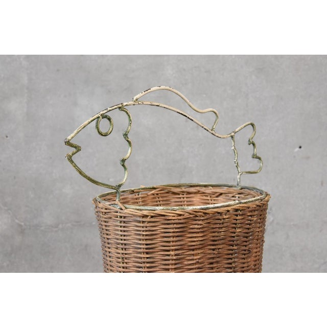 Mid-Century Modern Frederick Weinberg Style Rattan Fish Basket For Sale - Image 3 of 5