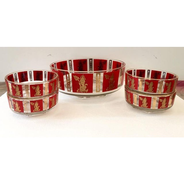 "Culver Mid-Century Red & 22k Gold ""Thai Goddess"" Drinks - Set of 9 - Image 2 of 8"