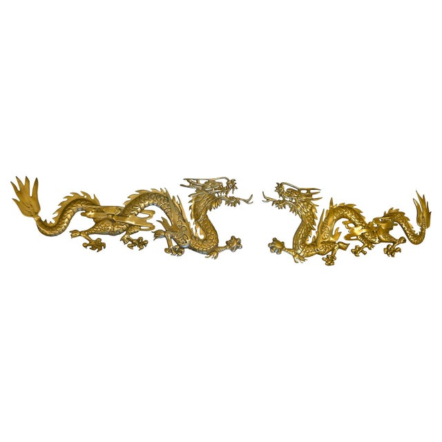 Large Brass Wall Hanging Dragons - A Pair - Image 3 of 7