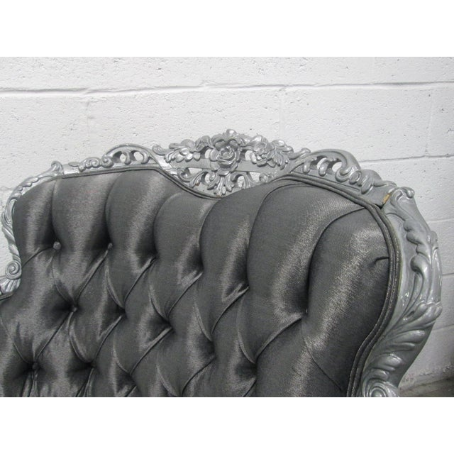 Carved Rococo Style Silver Tufted Chair For Sale In New York - Image 6 of 8