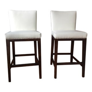 Solid Wood Faux Leather Upholstered Counter Stools - A Pair