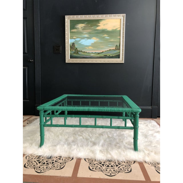 Emerald Green Bamboo Rattan Coffee Table For Sale - Image 9 of 11