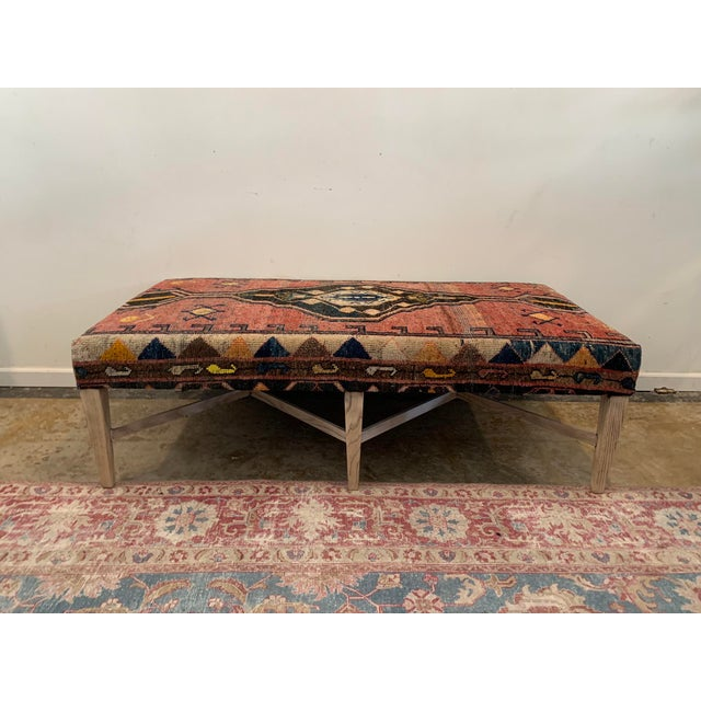 Vintage Persian Rug Ottoman Table For Sale - Image 11 of 11