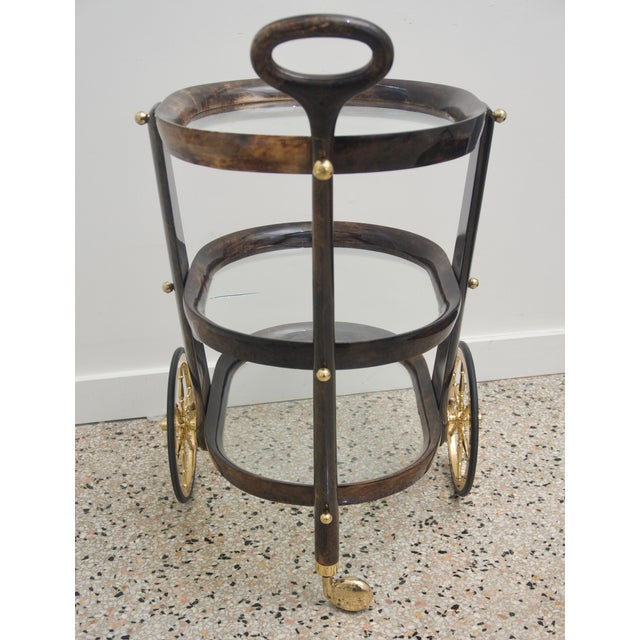 Mid 20th Century Mid-Century Modern Goat Skin Bar Cart by Aldo Tura For Sale - Image 5 of 9